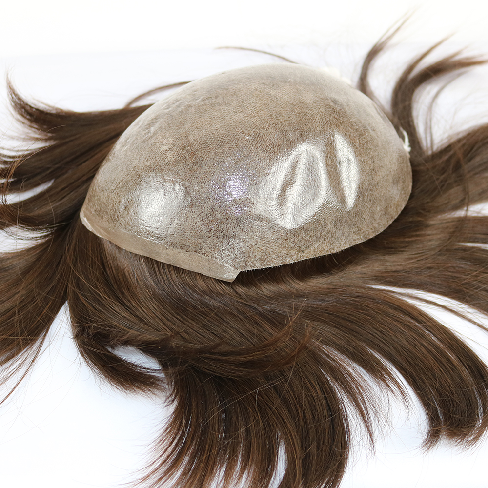 Eversilky Mens Wigs European Human Hair Hairpieces Mens Toupee Transparent Thin Skin Pu Hair Replacement Color #3 Men Systems