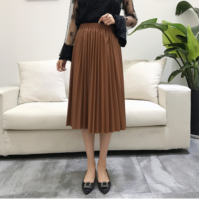 Image 4 - LANMREM 2019 autumn fashion new PU leather pleated skirt elastic high waist all match female's bottoms YF342-in Skirts from Women's Clothing