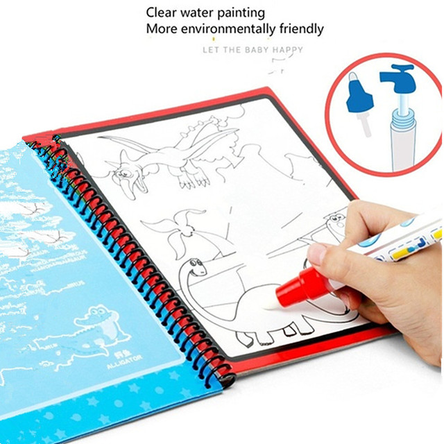 Montessori Coloring Book Doodle & Magic Pen Painting Drawing Board For Kids Toys Magic Water Drawing Book Birthday Gift 5