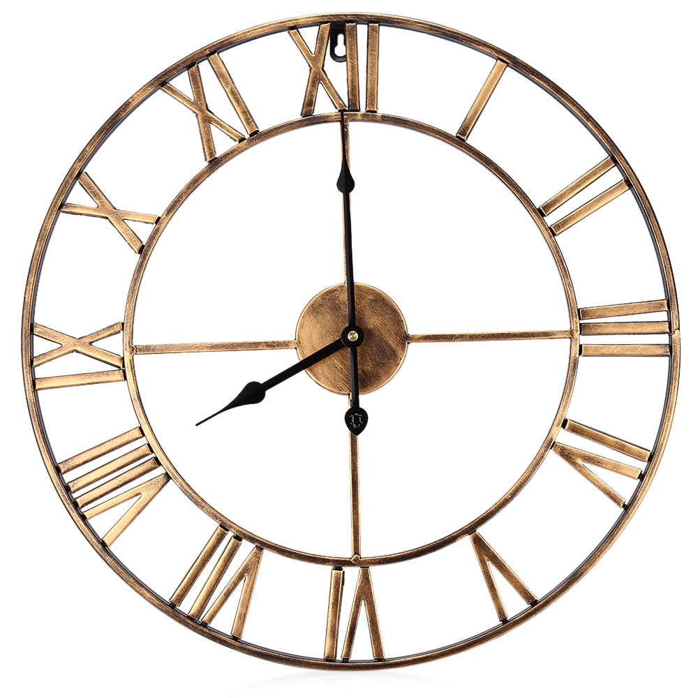 18 5 Inch Large Iron Retro Decorative Wall Clock Copper Color Home Decor Clocks For Dining Room Bedroom Kitchen Study Stair In From