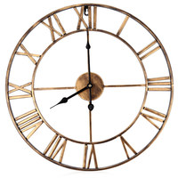 18.5 Inch 3D Large Iron Retro Decorative Wall Clock Copper Color Home Decor Clocks For Dining Room Bedroom Kitchen Study Stair