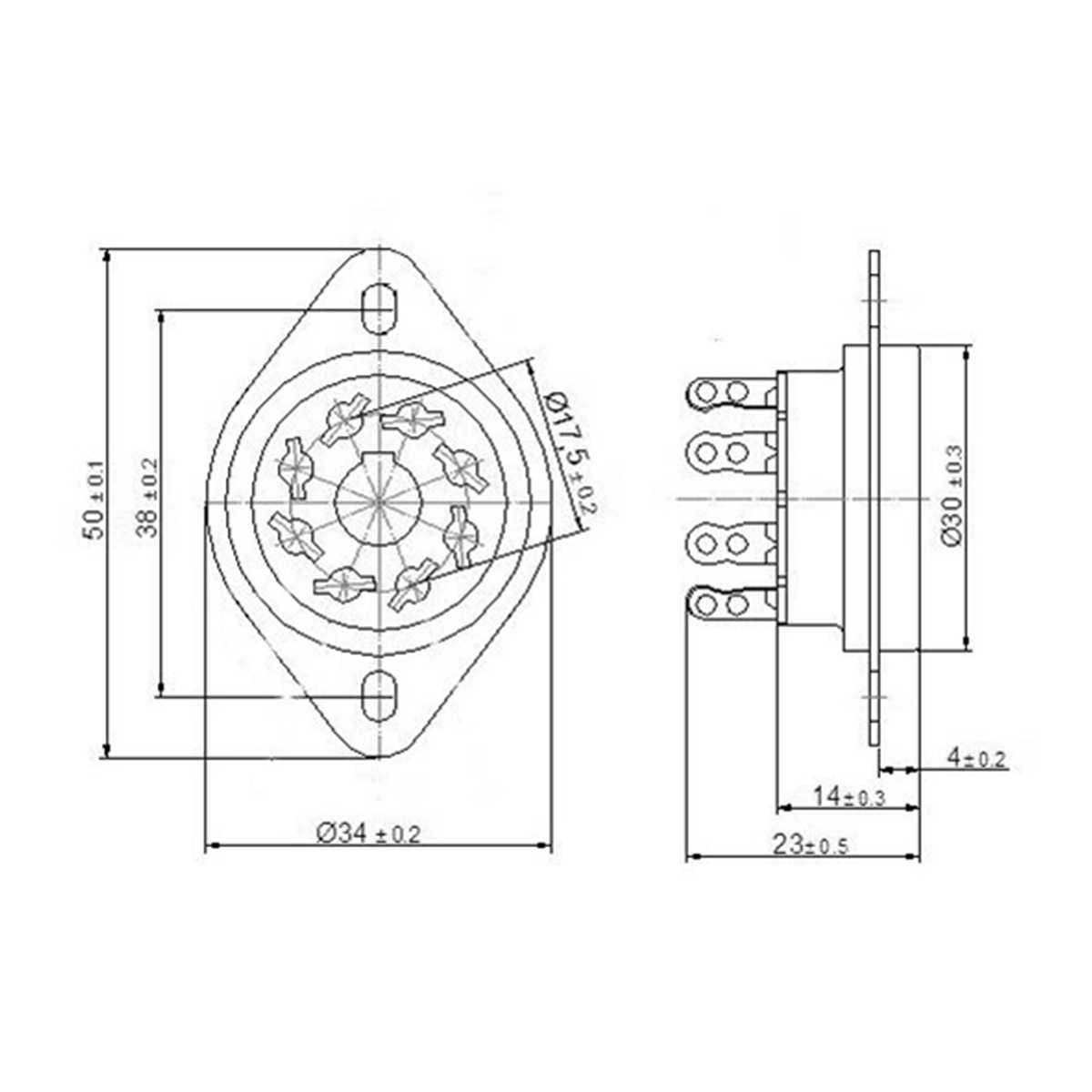 8 pin chassis mount vacuum tube sockets kt88 6l6 el34 belton replacement accessories [ 1200 x 1200 Pixel ]
