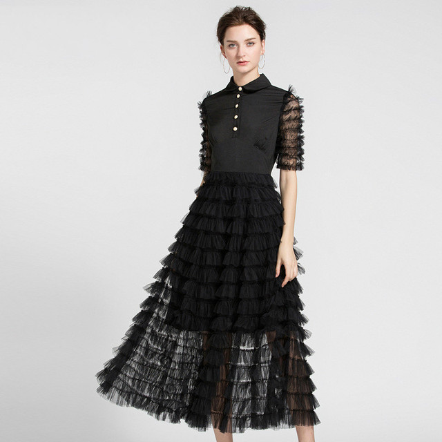 #2729 Summer Peter Pan Collar Pleated Runway Dress Women Black/White Short Sleeve Mesh Feather Dress Elegant Office Formal