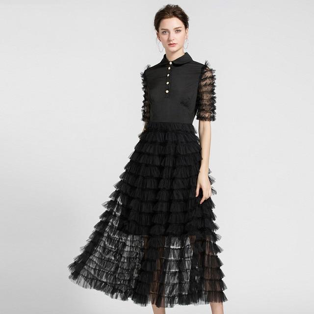#2729 Summer Peter Pan Collar Pleated Runway Dress Women Black/White Short Sleeve Mesh Feather Dress Elegant Office Formal