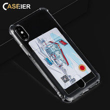 CASEIER Colorful Anti-knock Phone Case For iPhone 8 7 6 6s Plus Cases With Card Pocket Funda X XS MAX XR 5 5s SE