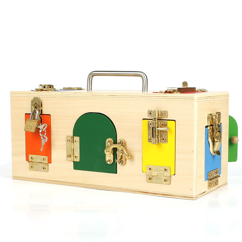 Éducation préscolaire apprentissage quotidien débloquer jouet boîte de verrouillage aide pédagogique jouet contreplaqué éducation précoce jouets éducatifs pour enfants à - 3