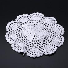 3pcs White Cotton Blend Lace Doilies 20cm Hand Crochet Floral Coasters Lot Round Applique For Wedding Decor