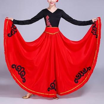 788309a4a Alta cintura nube de lujo estampado satén seda España tradicional español  Flamenco Falda Mujer baile del vientre danza Oriental disfraces