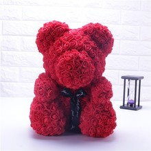 Горячий подарок на день Святого Валентина 25 см красная Роза плюшевый мишка Роза цветок искусственный украшения, рождественские подарки женский подарок на день Святого Валентина