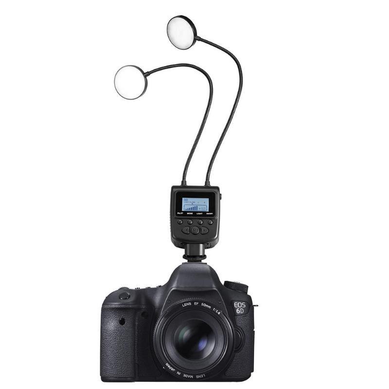 Travor ML 2D LED Macro Ring Flash Light Lamp Speedlite with Flexible Metal Hose Adjustable Angle for Canon Nikon Digital DSLR Ca