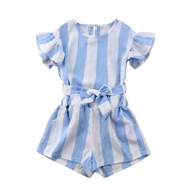 9735aeff9 Baby Kids Girl Clothes Stripes Tops T shirt+Pants Shorts 2pcs ...