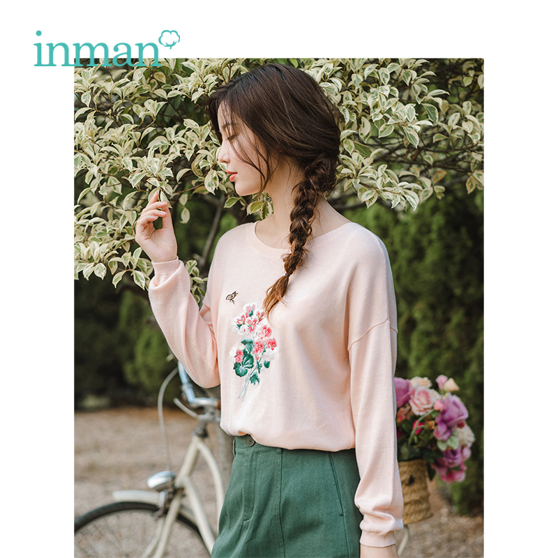 INMAN Autumn O-neck Literary Embroidery Retro Casual All Matched Slim Women Pullover