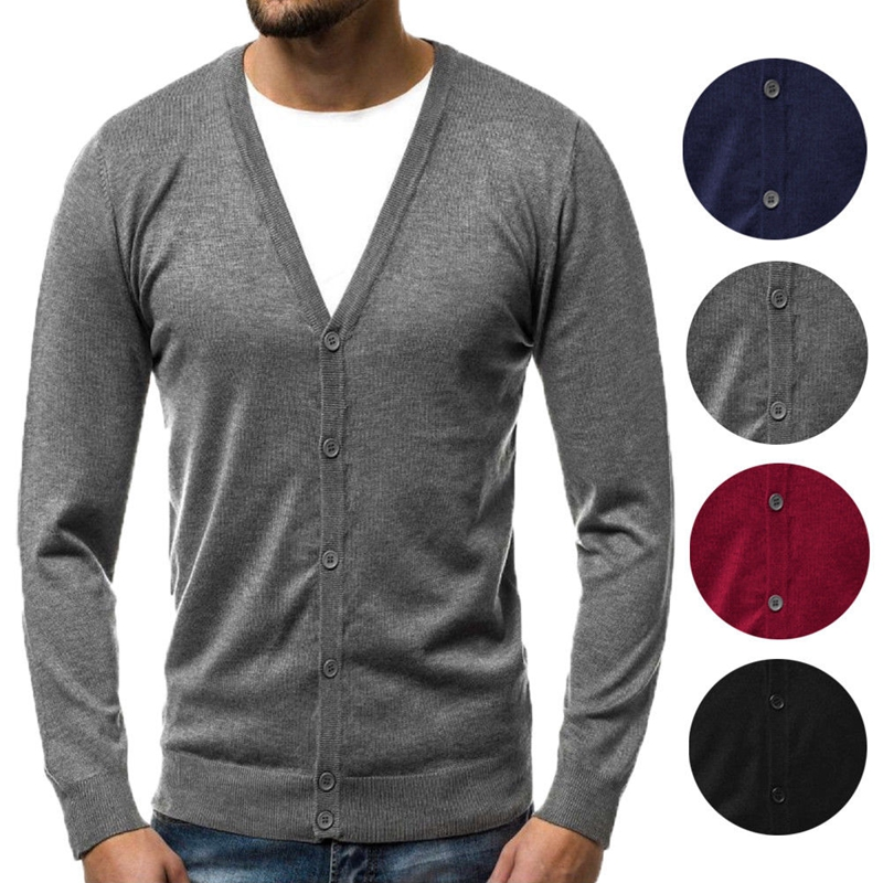 Men's Button V Neck Knitted Long Sleeve Casual Slim Fit Sweater Stylish  Cardigan Tops
