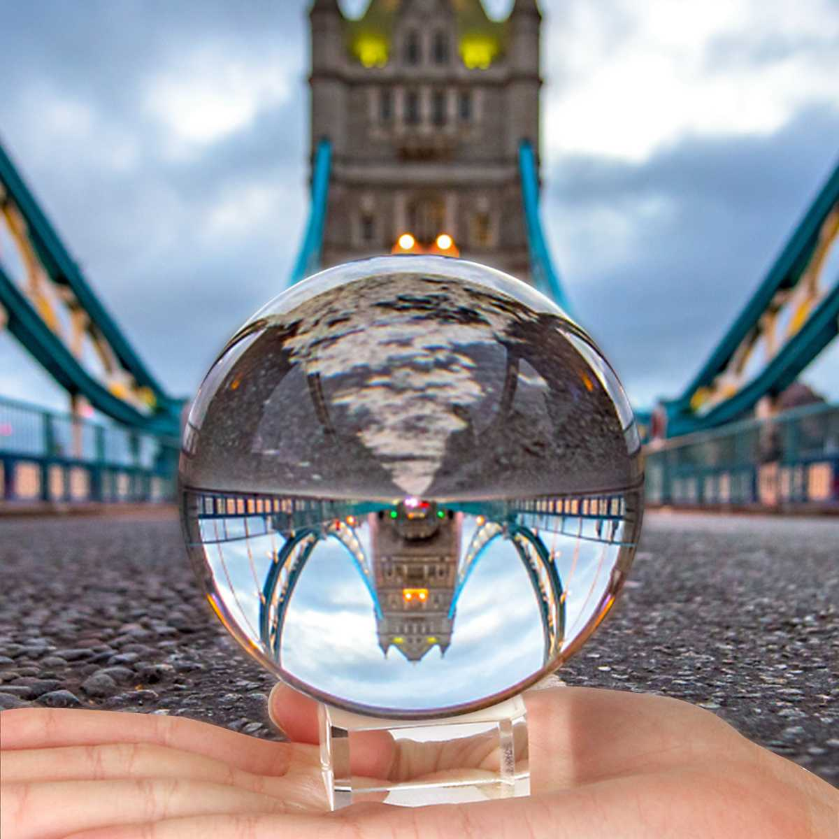 Crystal Ball with Stand Crystal Sphere Clear Lens Ball 50mm 80mm 2