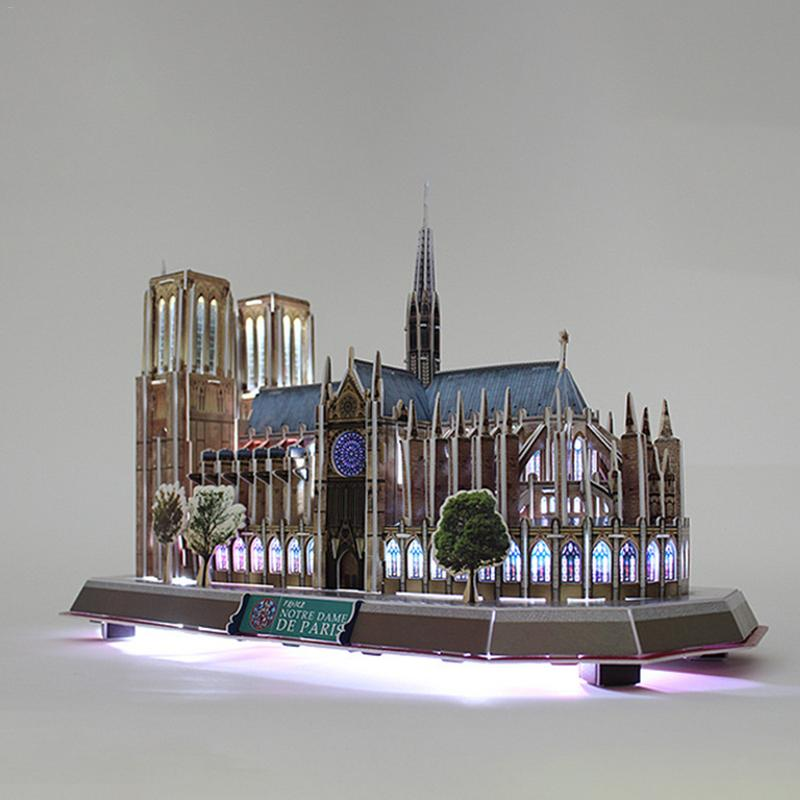 3D Puzzle LED Lighting Notre Dame De Paris Architecture Model Notre Dame De Paris 3D Puzzle LED Decoration Building Model