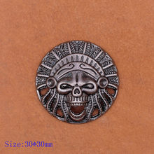 10X 30mm Motorcycle Biker Indian Chief Head Dress Leather Craft Conchos Rivet Back