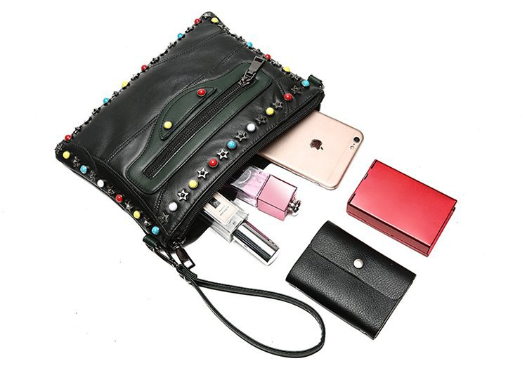 Gykaeo Genuine Leather Small Shoulder Bag Female 2018 Winter Chain Rivet Evening Clutch Envelopes Bags for Women Messenger Bag 6