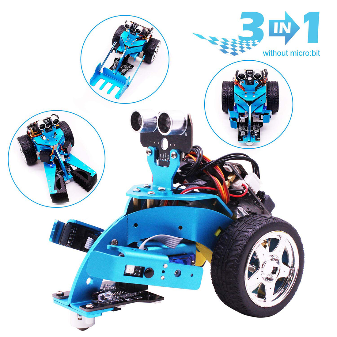 3-in-1 Tem Steam Robot Car Toy For Micro:bit BBC Mainboard Graphical Programmable Robot Car Toys +Bluetooth IR Tracking Module S
