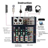 LEORY 4 Channel USB DJ Mixer Controller Karaoke Mixing With Built in Amplifier Metal Mezclador Console For KTV Profissional