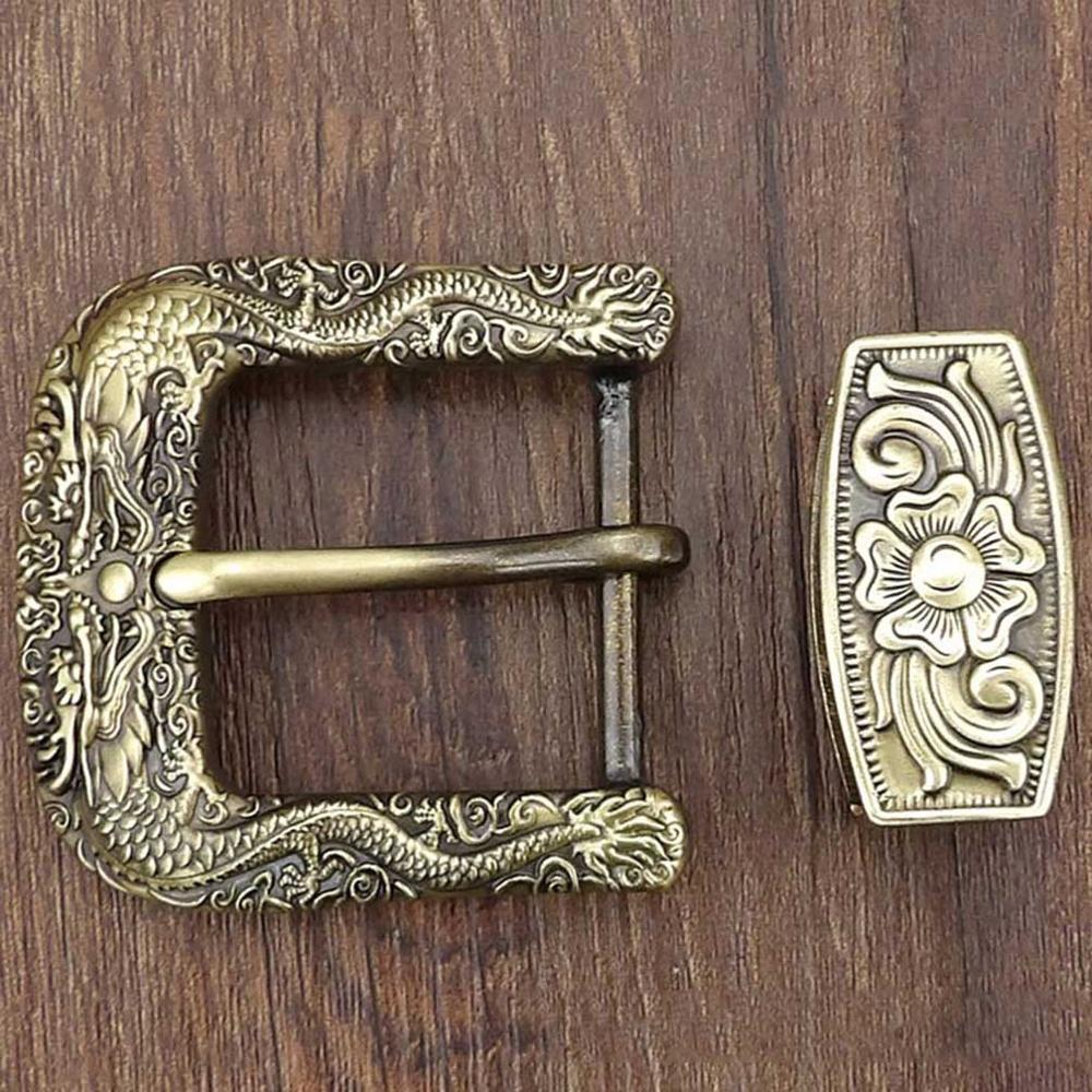 FAJARINA Pure Copper Waist Pin Belt Buckle Two Piece Chinese Wind Dragon Pearl Needle Styles Button Ring Set Fittings BCK042