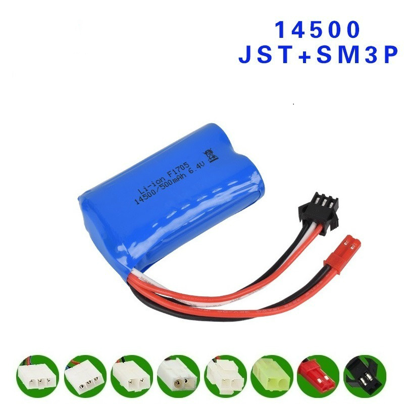 6.4v 14500 500mah Li-ion Battery For Wltoys 18401/02 Remote Control Off-road Vehicle 6.4v Battery For RC Toys Car Boat Trucks