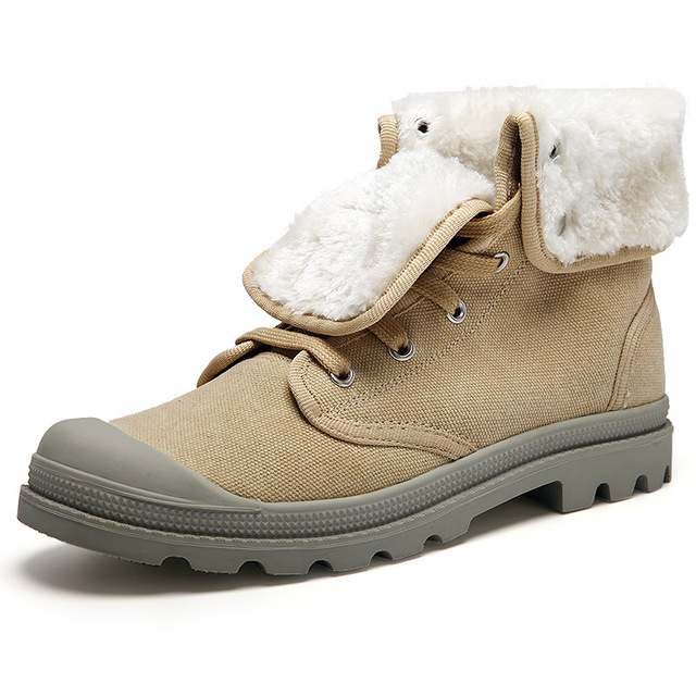 New Men snow boots doc martens boots Canvas fur plush boots youth women  winter shoes trun over edge lace up boots snow footwear 85584af854c6
