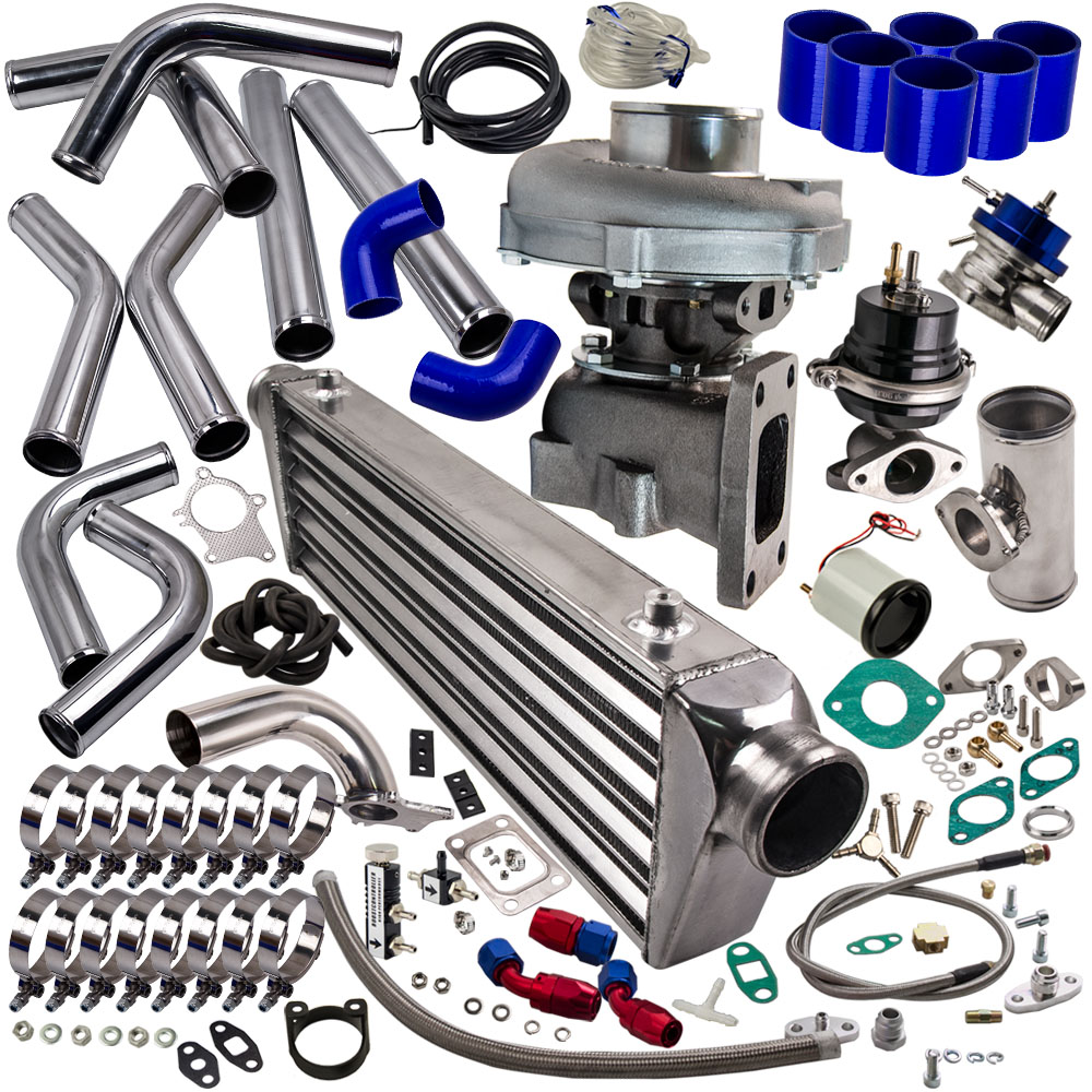 T3 T4 T04E Kit Turbo chargeur universel Stage III + poubelle + Intercooler + tuyauterie + BOV + jaugeT3 T4 T04E Kit Turbo chargeur universel Stage III + poubelle + Intercooler + tuyauterie + BOV + jauge