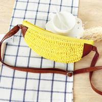 294fcfbdf RsPeonality Banana Shape Crossbody Bag Fruit Handmade Woven Bag Cute Kawaii  Straw Braided Beach Bag
