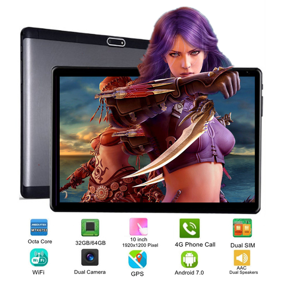 NEW Computer 10 Inch Tablet PC Octa Core Android 7.0 32GB 64GB 8 Core 10 10.1 Resolution 1920x1200