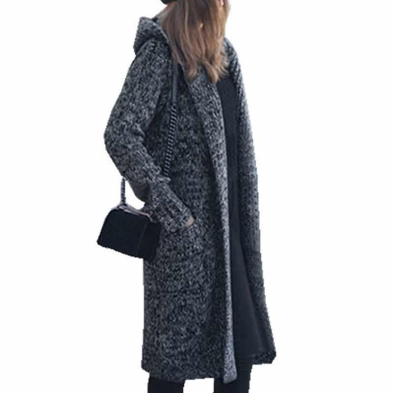 f76e587458 Harajuku Long Cardigan Ladies 2018 Fall Fashion Long Knit Sweater Women  Large Coat Casual Black Jacket