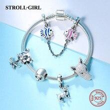 купить Hot sale 925 Sterling Silver Snake Chain with animal charms beads original Bracelet Fashion diy Jewelry making for women gift дешево