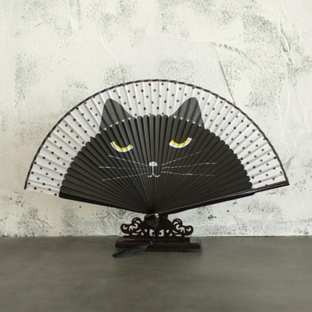 Silk Folding Fan Innovative Hand-Painted Cartoon Cat Baking Varnish Handle Fan Hand Fan Folding Wedding Silk Party Supplies