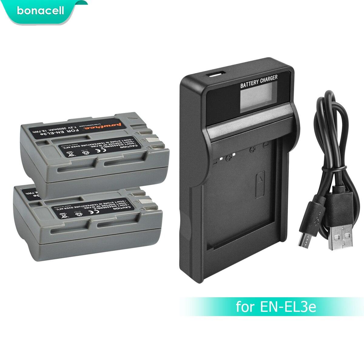 Bonacell 2600 mah EN-EL3e EN EL3e EL3a ENEL3e Batterie + Batterie LCD Chargeur pour Nikon D300S D300 D100 D200 D700 d70S D80 D90 D5 L15