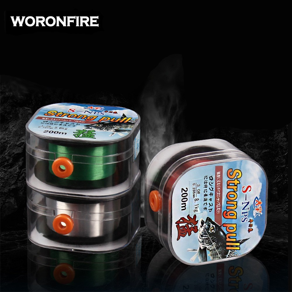 200m Fluorocarbon Coating Fishing Line 0.4#-10# White Green Brown Wear Resistant Stretchable Sinking Carbon Fishing Line