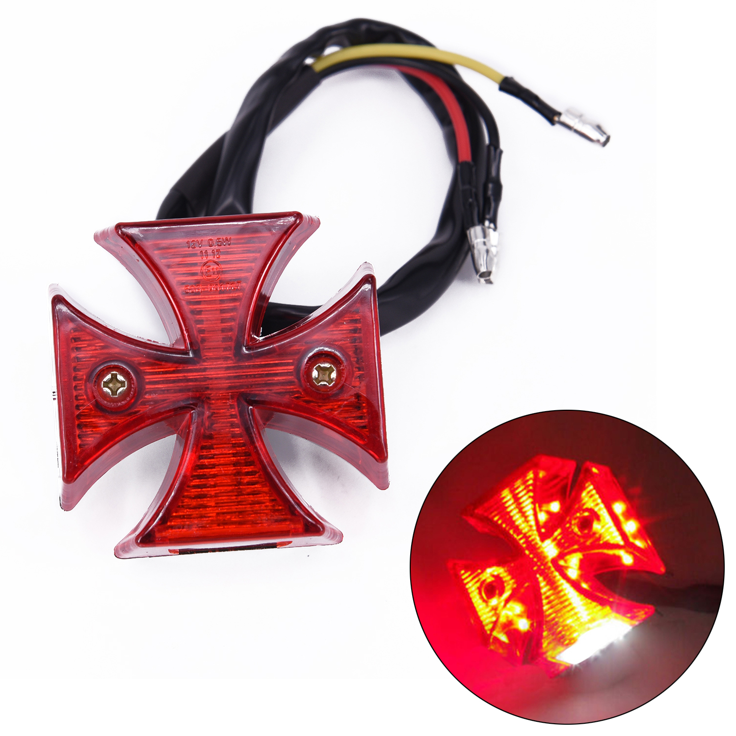 Atv,rv,boat & Other Vehicle Dc 12v Universal Led Motorcycle Quads Maltese Cross Tail Brake Lamps Rear Lights