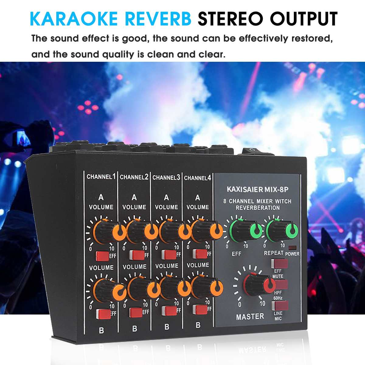 KINCO 100~220V Professional Mini Mixer 8 Channel Live Studio Audio KTV Karaoke Mixer Mixing Console 48V for Family KTVKINCO 100~220V Professional Mini Mixer 8 Channel Live Studio Audio KTV Karaoke Mixer Mixing Console 48V for Family KTV
