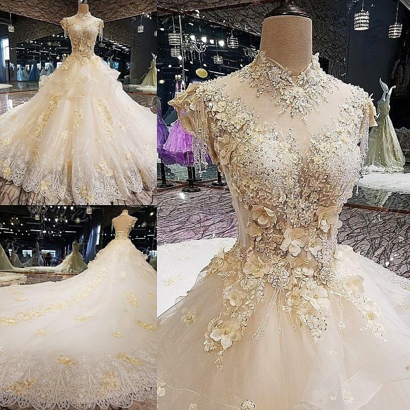 Latest Fashion Wedding Gowns: 2019 New Fashion White Tassel Rufflus Eppliqued Crystal