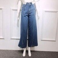 2019 Spring Patchwork Jeans Female High Waist Asymmetrical Long Wide Leg Pants Women Casual Fashion Denim Pants