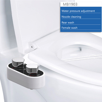 Non Electric Mechanical Bidet for Toilet Attachment Self Cleaning Nozzle Water Spray Single Nozzle Easy to Install White Bidet
