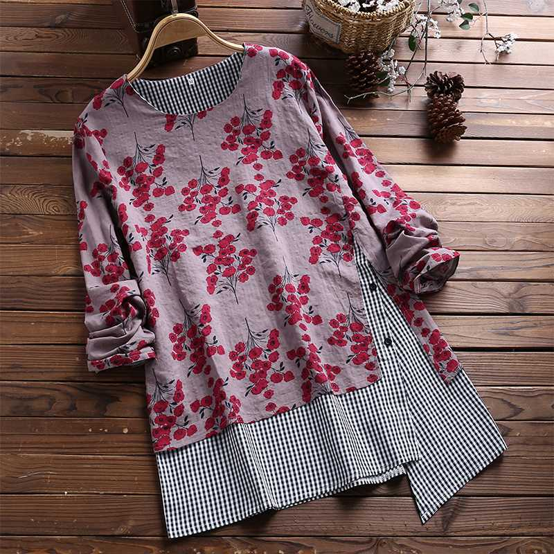 Plus Size Top Blusas Women Blouse Shirt Floral Printed Patchwork Plaid Tops Ladies Casual Baggy Irregular Hem Chemise Femme 5XL