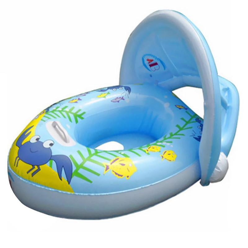 Cartoon Print Baby Kids Summer Swimming Ring Inflatable Seat Boat Float Baby Swimming Ring With Sunshade For Baby Kids Children