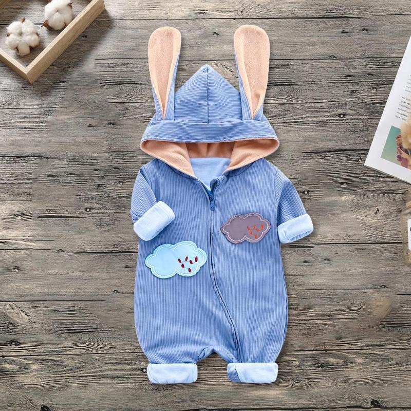 Spring Baby Rompers Cute Cloud Embroidery Fleece Zipper Jumpsuit Outfits