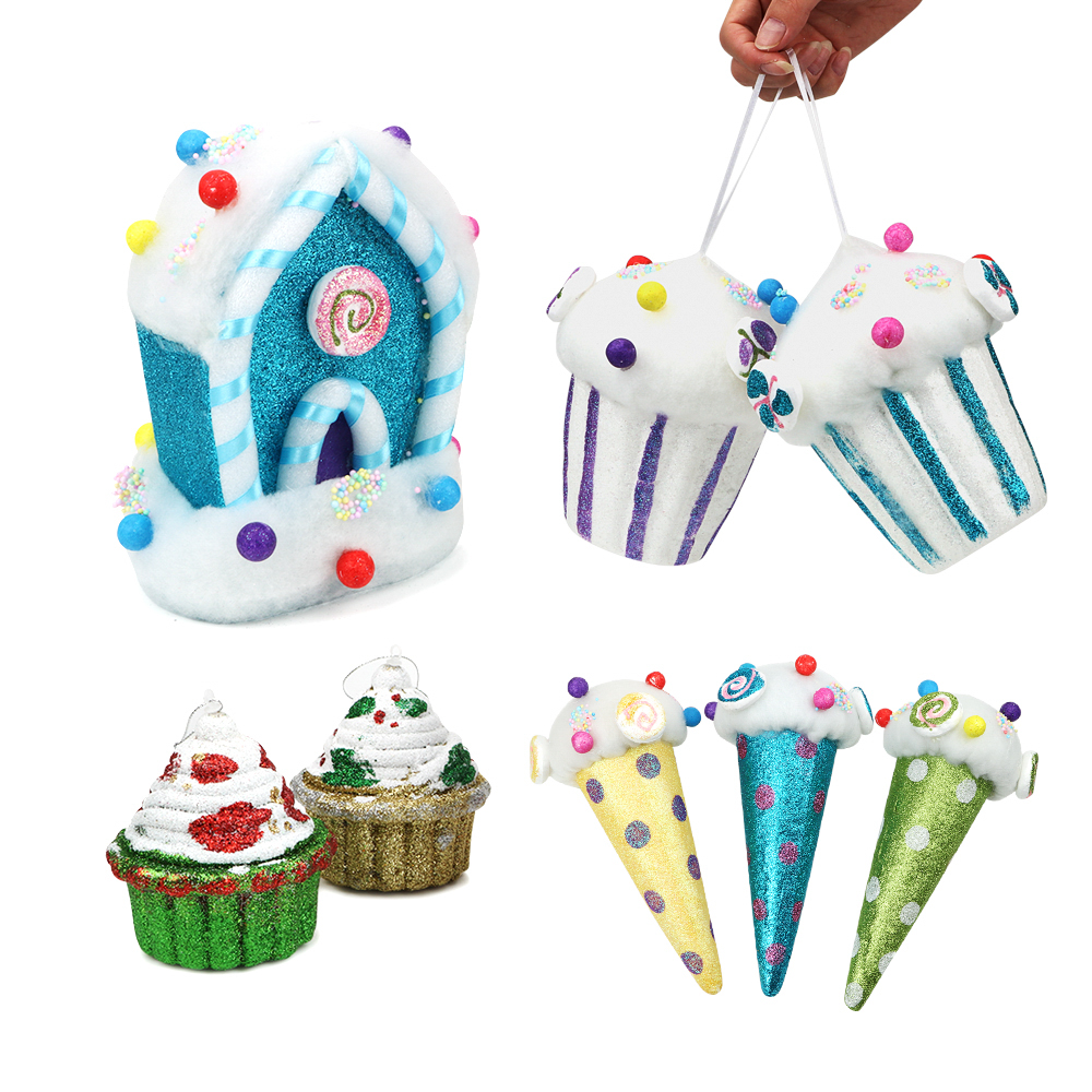 1PCS Festival Party Supplies Christmas Tree Decoration Candy House Ice Cream Cake Popcorn New Year Pendant Xmas Ornament