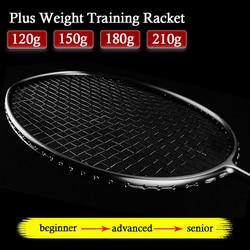 Mais peso formação raquete de badminton 26-34 libras 120g 150g 180g 210g fibra de carbono profissional tipo ofensivo raquetes