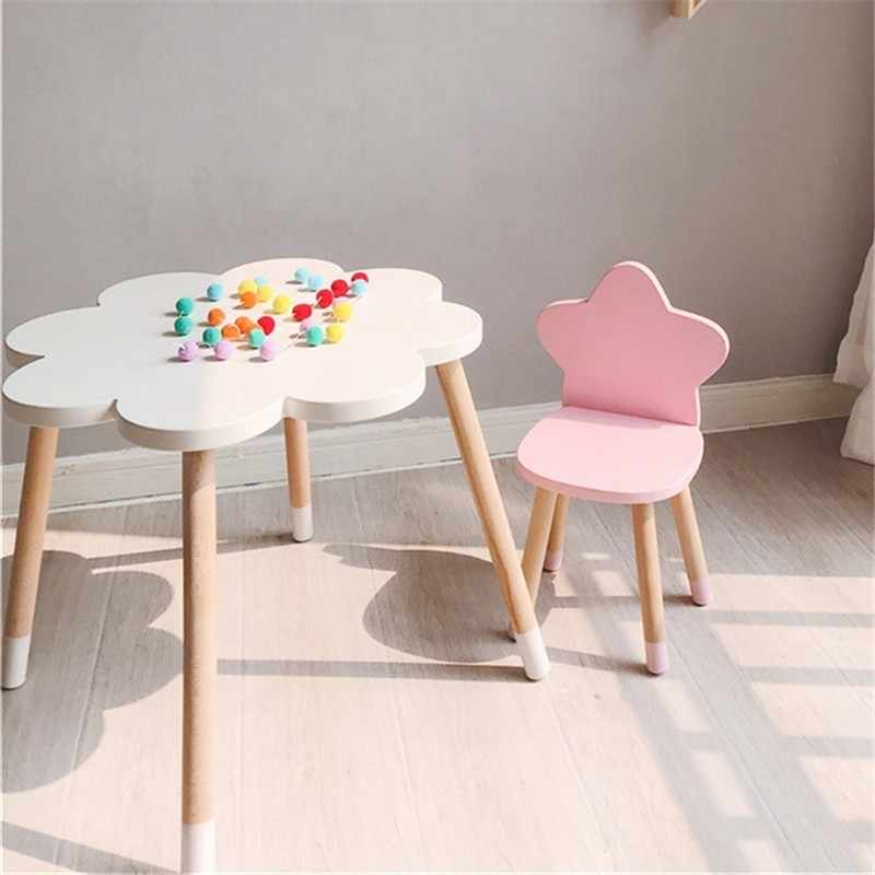 ... Nordic Style Star Backrest Wooden Stool Kids Furniture Shoes Bench Child  Desk Chair Nursery Decor Children ...