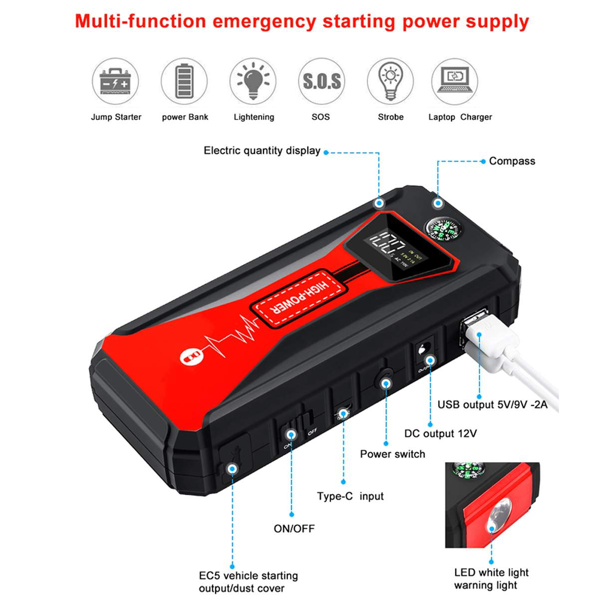 88000 mAh Démarreur Voiture De Saut 12 v batterie externe chargeur portable voiture Multi-fonction Cavalier de Démarrage D'urgence De Voiture amplificateur de batterie