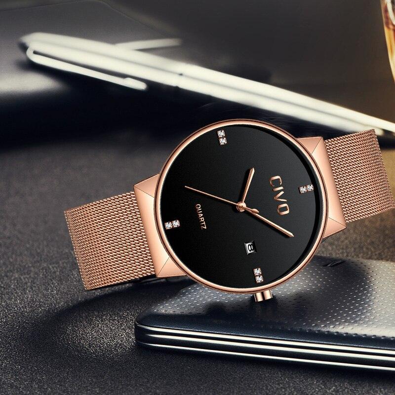 CIVO relojes de oro rosa para hombre, reloj de pulsera de cuarzo, resistente al agua, reloj de pulsera de malla de acero inoxidable para hombre - 4