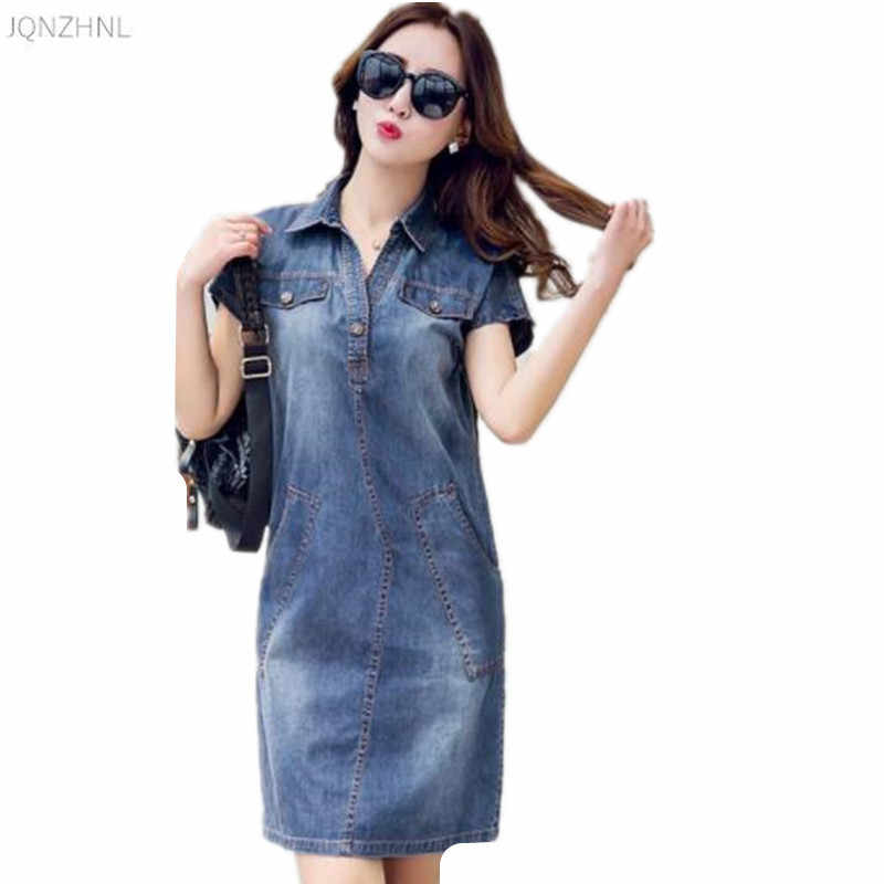 Джинсовое платье 2018 года, летнее корейское ретро платье с v-образным вырезом и короткими рукавами из тонкой джинсовой ткани, свободное повседневное однотонное короткое джинсовое платье 216