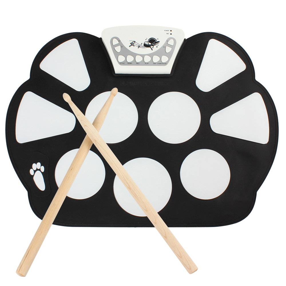 W758 Portable 9 Pad Électronique Roll-Up Drum Kit Percussion Instruments Numérique Musical Roll-up Drum Kit avec 2 Baguettes de tambour