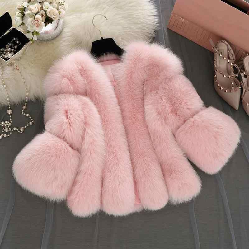 c122bbd8a3a ... Fashion Artificial Fox Fur Coat Women Girls 3/4 Sleeve Fluffy Faux Fur  Short Thick ...